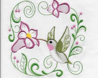 Beautiful embroidered terry cloth adult bib- BRIGHT BEAUTIFUL HUMMINGBIRD
