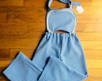 Toddler overalls girls overalls Wide leg striped overalls vintage girls overalls girls wide leg toddler wide leg girls blue overalls halter