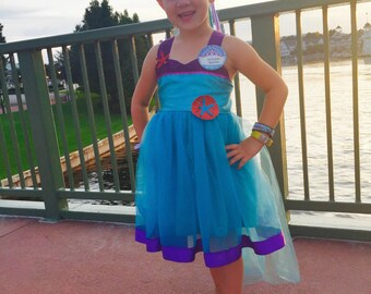 Little Mermaid Dress: Ariel Princess Tutu Dress, sparkle purple & ocean blue, birthday party, princess dinner, vacation,  halloween costume