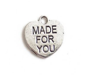 "set of 10 heart charms engraved inscription ""made for you"" make for you Silver (B09)"
