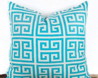 SALE ENDS SOON Designer Turquoise Pillow Cover, Geometric Pillow Case, Home Design Ideas, 20 x 20