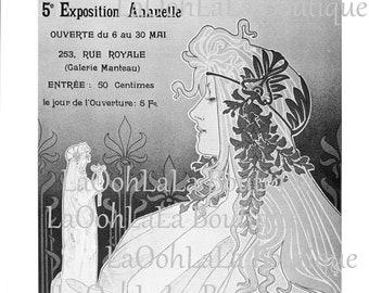 1897 Art Nouveau Goddess Relic Vintage Black and White Lithograph Print Cercle Artistique de Schaerbeek Privat Livemont Mythology Wall Decor