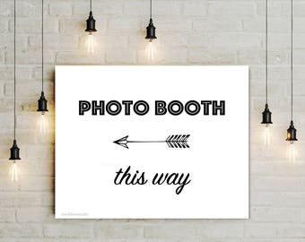 Printable Photo Booth This Way sign with Left Arrow, Graduation Prop Party Decor, Digital black white Wedding reception sign, jpg pdf