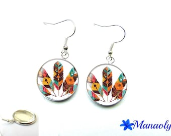 Colorful feather earrings, ethnic, 1809 glass cabochons
