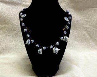 Tea cup blue victorian bead necklace