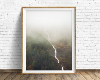 """landscape wall art, instant download printable art, printable wall decor, printable wall art, large art, prints - """"Flowing Through the Fog"""""""