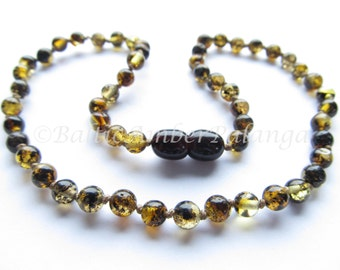 Baltic Amber Teething Necklace, Perfectly Rounded Green Beads