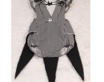 Black and White Striped Nightmare Romper