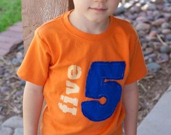 Toddler Birthday shirt,Orange,  Applique Number, (No Ink) 1st birthday, 2nd birthday, 3rd birthday, 4th birthday, 1,2,3,4,5 Free Shipping