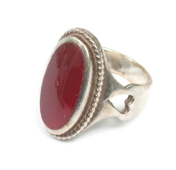 Carnelian Heart Cut Out Design Ring Sterling Silver Size 7 US Vintage