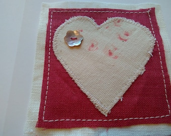 Faded floral heart card