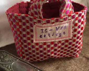 Storage Basket in upcycled furnishing fabric 6 inch squares