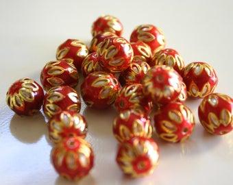 SALE Red spheres - Floral Cloisonné Meena beads (2) 13mm
