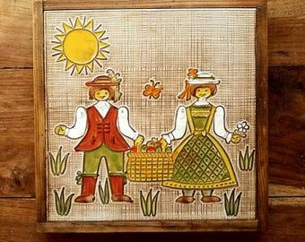 Large Siena Made in Italy Framed Tiles Set of 3, Siena Tiles, Italian Pottery, Italian Art, Ceramic Coasters