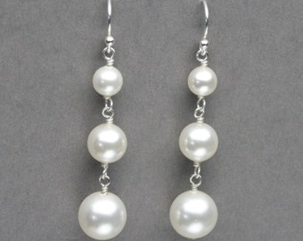 Pearl Drop Earrings, Bridal Wedding Earrings, Pearl Dangle Earrings, Pearl Bridal Jewelry, Triple Pearl Drop Earring, Wedding Earrings