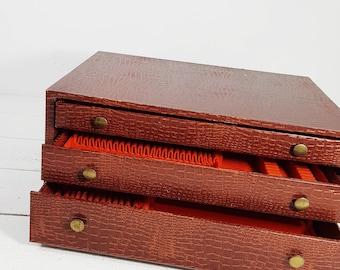 Flatware Storage Box, 3 Drawers Fitted Flatware Storage Chest EMPTY,  Flatware Wood Silverware Chest