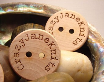 Personalized wood buttons engraved one and half inch custom made in USA