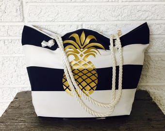 Pineapple Beach Bag, Striped Beach Tote, Waterproof Beach Bag, Cruise Tote, Vacation Bag, Pineapple Gift, Beachlovers Gift