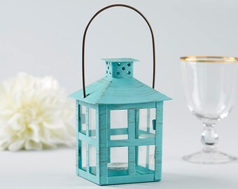 Blue Centerpiece Lanterns - Set of 12 - Vintage Style Distressed Medium Lantern Wedding Reception Table Decorations - Spring Garden MW36712
