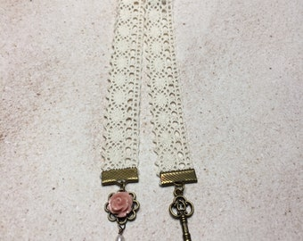 Flower & Key Bookmark-Lace Bookmark-Pearl Bookmark-Grandmother-Mothers Day gift-Victorian bookmark-Jane Austen-Bronte Sisters-Book club gift