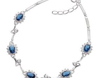 Stunning CZ Sapphire Crystal Bracelet