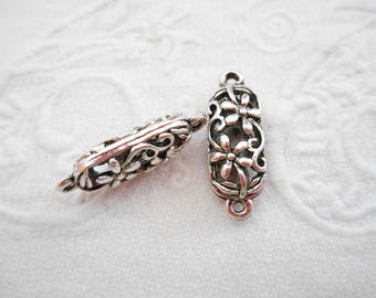 x 2 tube antique silver metal filigree connectors