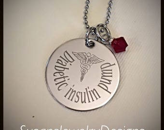 READY • TO • SHIP - Medical Alert Engraved Necklace - stainless 1 sided disc - choice of chain & Swarovski crystal - Diabetic insulin pump