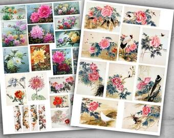 Fichas imprimibles 6 - colección de Arte Digital Collage hojas - ideal para scrapbooking, arte de papel y decoupage - CHINA