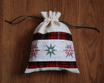 Christmas Gift Bag, Small Christmas Sack, Gift Bag, Snowflake Gift Bag, Christmas Sack, Snowflake Bag, Christmas Bag, Sack