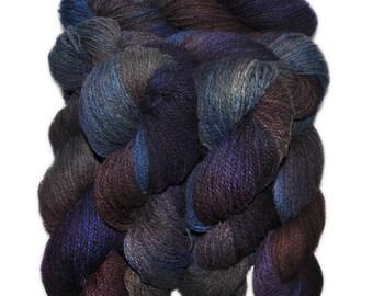 Hand dyed yarn - Alpaca / American wool yarn, Worsted weight, 240 yards - Supay