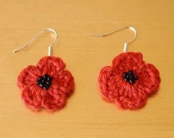 Poppy Red Crochet Drop Earrings