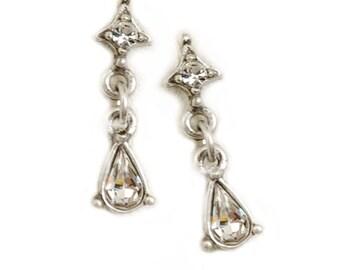 Petite Crystal Earrings, Simple Wedding, Simple Earrings, Wedding Earrings, Wedding Jewelry, Bridal Jewelry, Dainty Earrings E1147