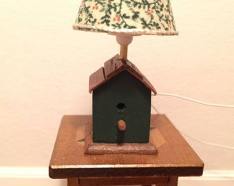 1:12th Scale Dollhouse Miniature Handmade Working Birdhouse Table Lamp