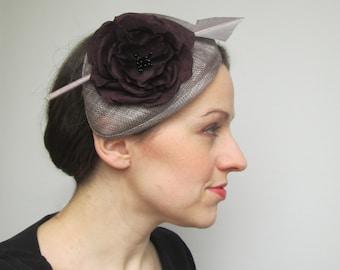 Wedding Fascinator Hat - Wedding Hat, Grey Hat, Pewter Fascinator, Silver Hat, Womens Hat, Races, Millinery, Fascinator, Percher