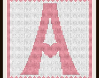 Letter A Heart Afghan, C2C Graph with Written Word Chart