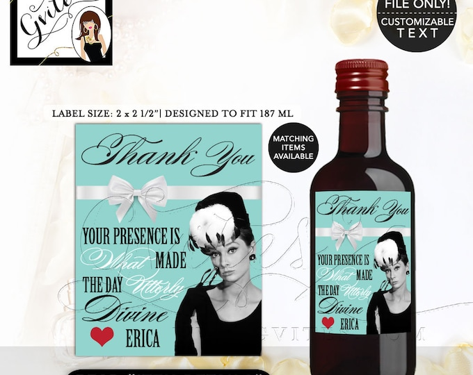 "MINI WINE bottle labels birthday, thank you stickers, Audrey Hepburn PRINTABLE label 2x2.5"" 12 Per/Sheet."