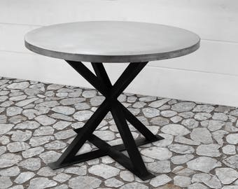 Round Zinc Dining Table, Industrial Dining Table, Zinc Table Top, Kitchen Table, Industrial Furniture, Urban Farmhouse, Round Dining Table