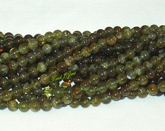 "Green Garnet 6mm Round Gemstone Beads - 15.75"" Strand"