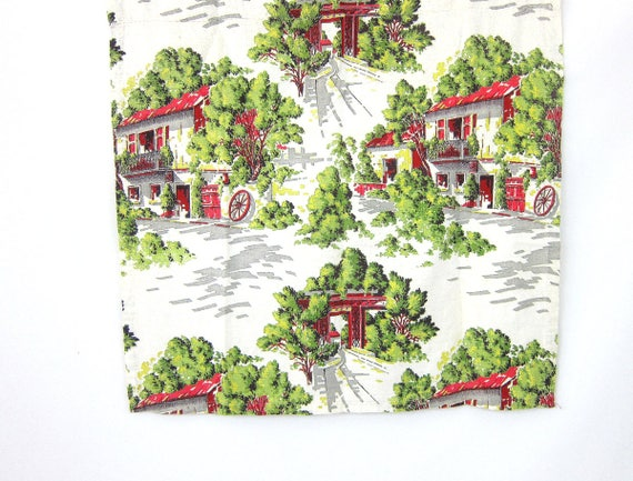 Mid Century Fabric textile art Houses and Trees Scenery Print Red Green White Pattern Barkcloth Sewing Craft Destash fabric Graphic Print GS