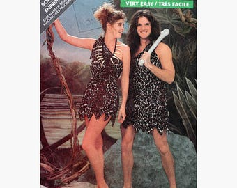 """Caveman Cavewoman Tarzan Halloween Couple's Costume Sewing Pattern Adult Vintage 80s Size 12/14 Bust/Chest 34/36"""" Butterick 5801 G"""