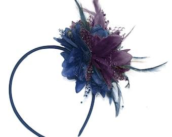 Navy and Purple Fascinator Headband Hair Band Flower Corsage