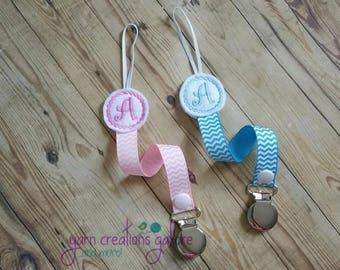 Initial Personalized Feltie Pacifier Holder--Blue or Pink