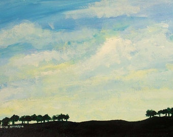 dawn painting, acrylic sky painting on paper
