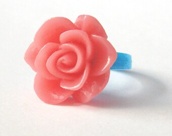 Pink Rose and Blue Base Ring, Resin flower on Pinky Ring, floral gift box