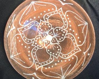 Carved mandala design agateware bowl