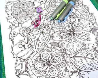 Adult Coloring Page Mushrooms and Creatures Doodle Design Zentangle Printable Drawing Kids Art Activity