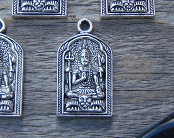 5pc Antique Silver Carved Buddha Pendants, Bohemian style pendant, pendant supplies, sitting buddha pendant, pendant for mala, #PEN-016