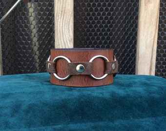 Brown Leather Cuff with silver rings