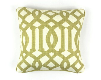 Schumacher Imperial Trellis Pillows with welting - Comes in 11 Colors (Shown in Citrine - Both Sides)