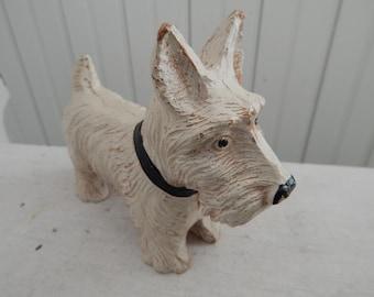 Composition White Westie Dog - West Highland Terrier Vintage Dog Figurine - Dog Collectible - Westie Dog - West Highland Terrier Lover Gift